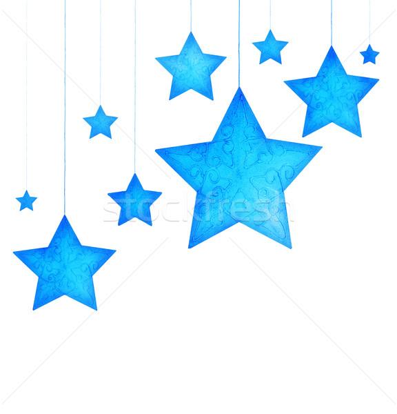 576x600 Blue Stars Christmas Tree Ornaments Stock Photo Anna Om