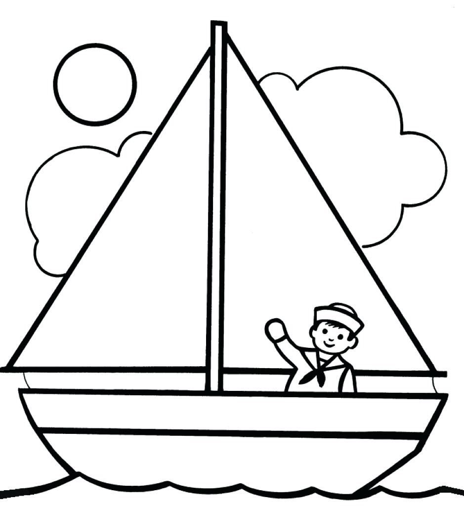 939x1024 Yacht A Colouring Coloring Army Boats Pages Cartoon Boat Fishing