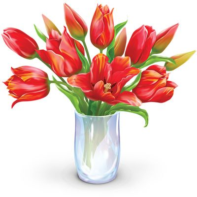 400x400 Vase Of Flowers Clip Art Flower Bouquet Clipart Dozen Tulips Image