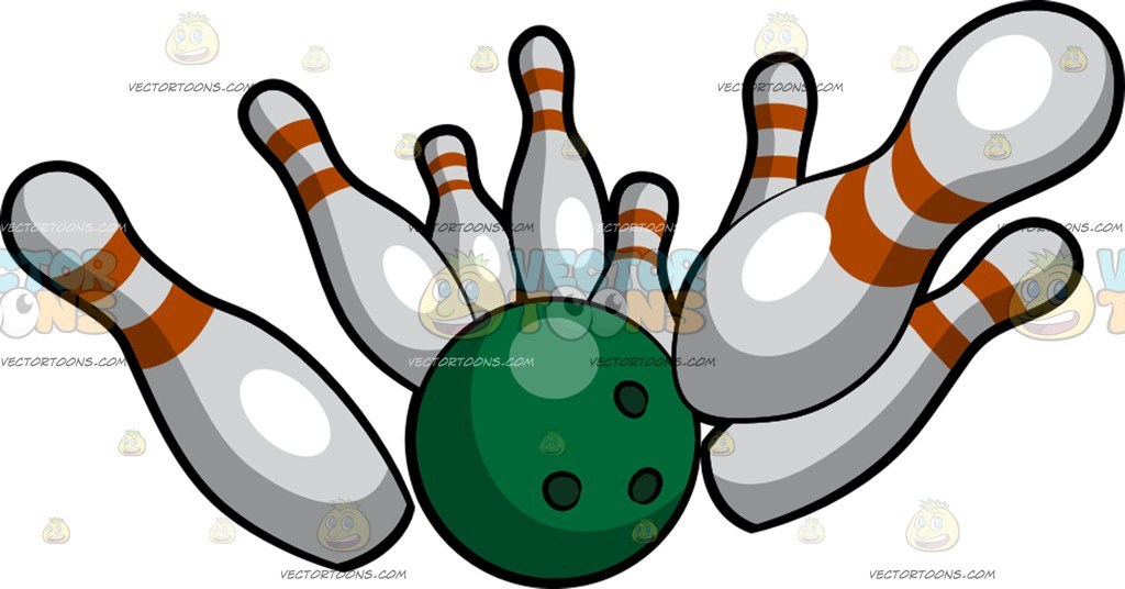 1024x536 A Bowling Ball Knocking Down Bowling Pins Cartoon Clipart