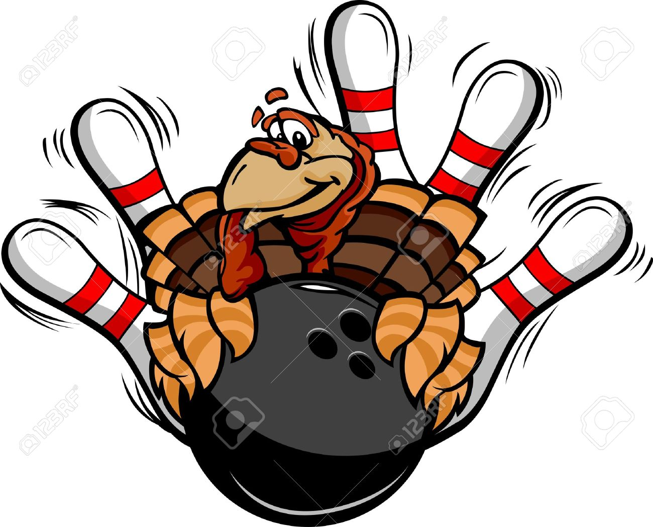 1300x1048 Turkey Holding A Bowling Ball Surrounded By Bowling Pins Royalty