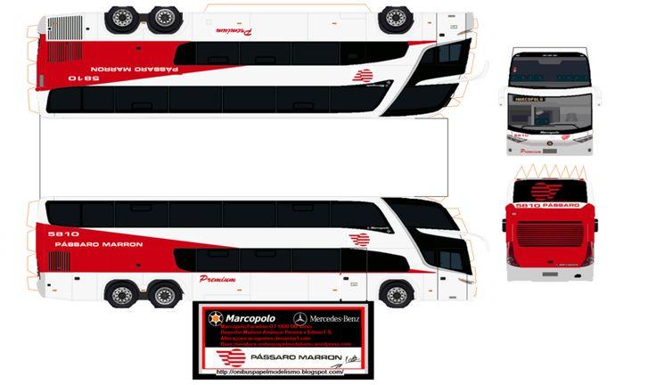 736x432 Paper Model Trucks Marcopolo Paradiso G7 Passaro Marron