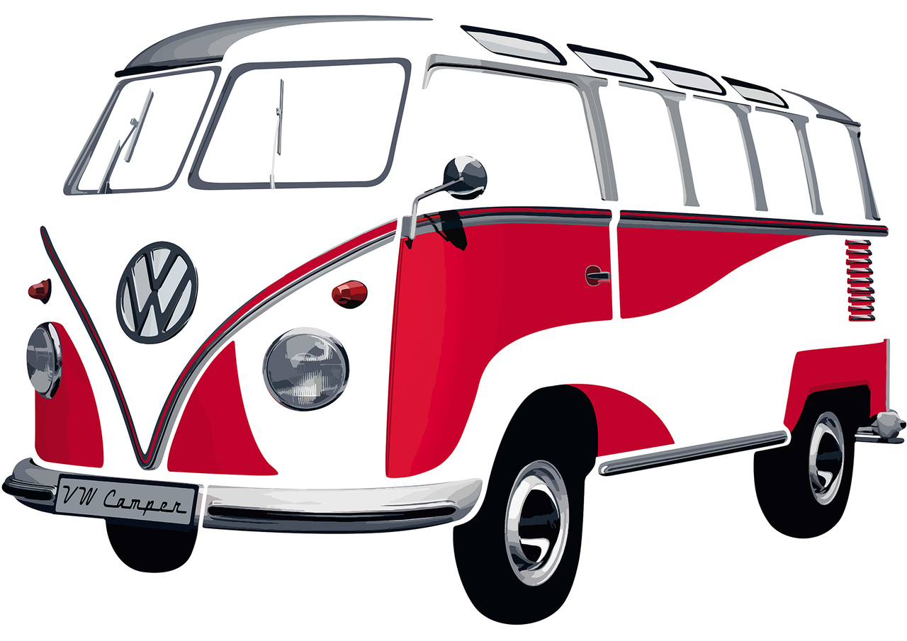 1280x905 Vw T1 Red Amp White Classic Large Wall Sticker Large Wall Stickers