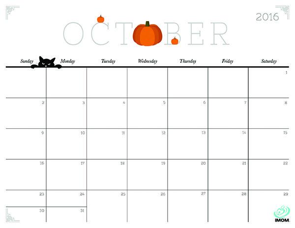600x464 October 2016 Calendar Cute Monthly Calendar Printable