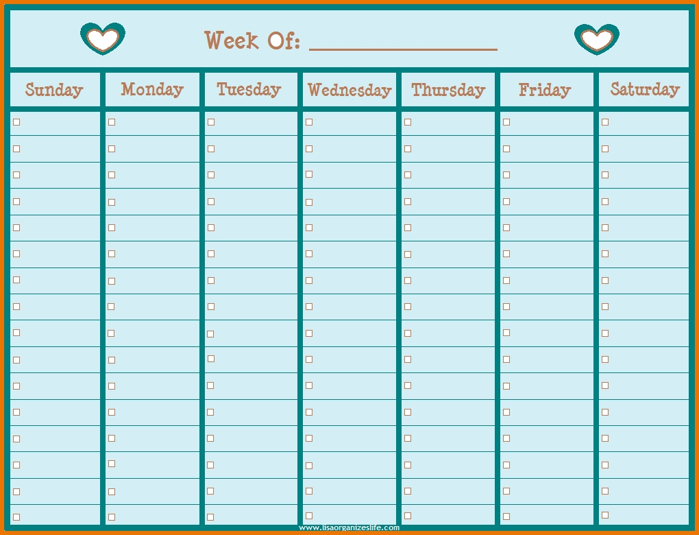 1020x780 Weekly Calendar By Hour Template Online Calendar Templates