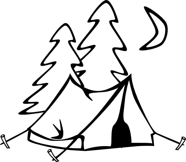600x523 Black And White Camping Clipart