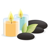 200x200 Spa Candles With Stones Vector Image