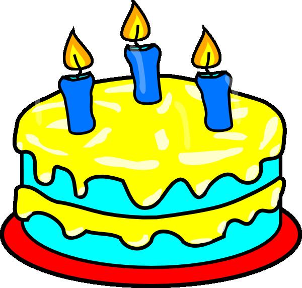600x572 Yellow Three Candle Cake Clip Art