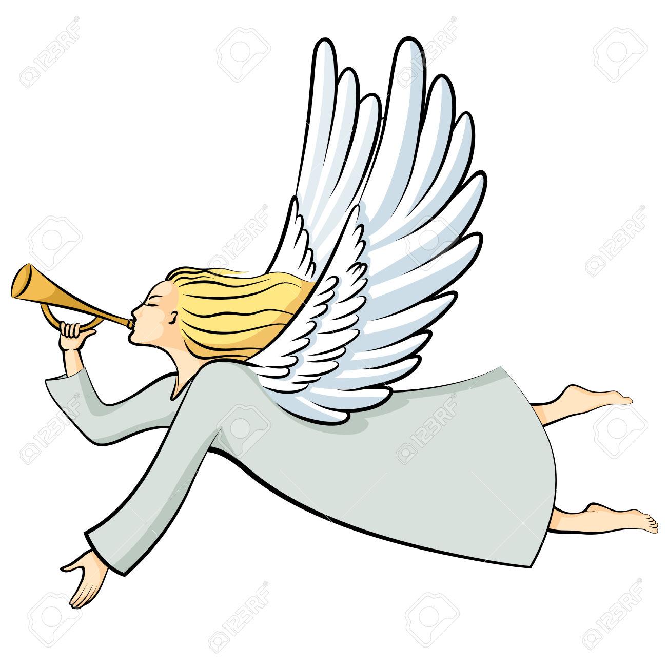 1300x1300 Angel Blowing Cartoon Clipart Horn