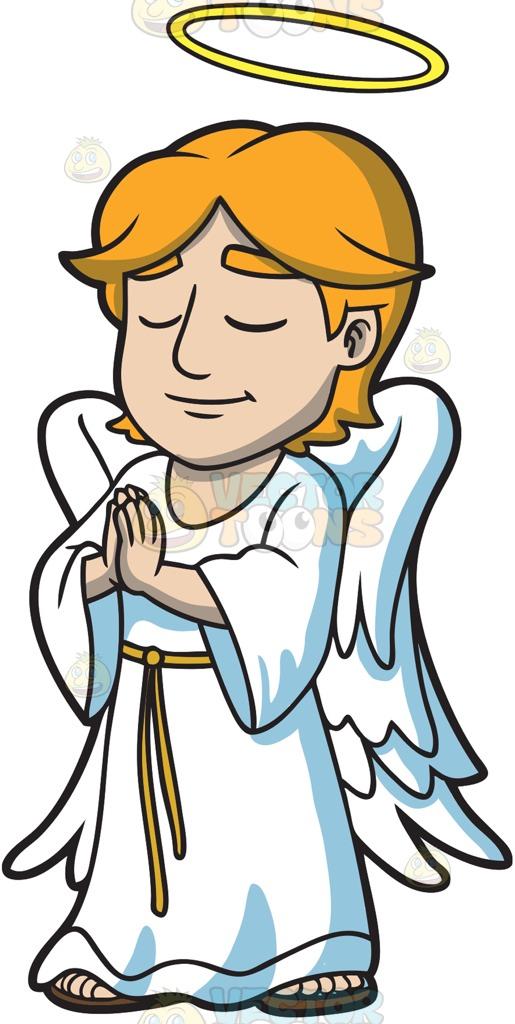 515x1024 A Praying Angel Cartoon Clipart