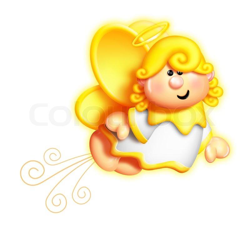 800x728 Whimsical Cartoon Angel Flying Stock Photo Colourbox