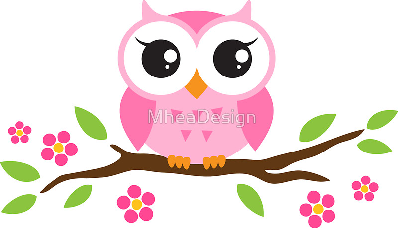 800x459 Cute Pink Cartoon Baby Owl Sitting On A Branch With Leaves