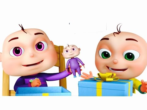 480x360 Five Little Babies Opening Gift Boxes Cartoon Animation