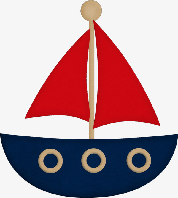 600x669 Cartoon Simply Decorated Boats Sail, Hand Painted Cartoon