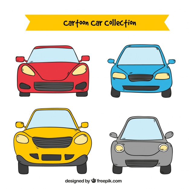 626x626 Front View Of Four Cartoon Cars Vector Free Download