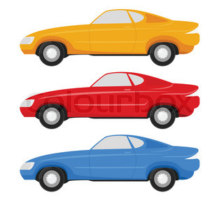 320x291 Six Cartoon Cars In Different Color Palettes Stock Vector