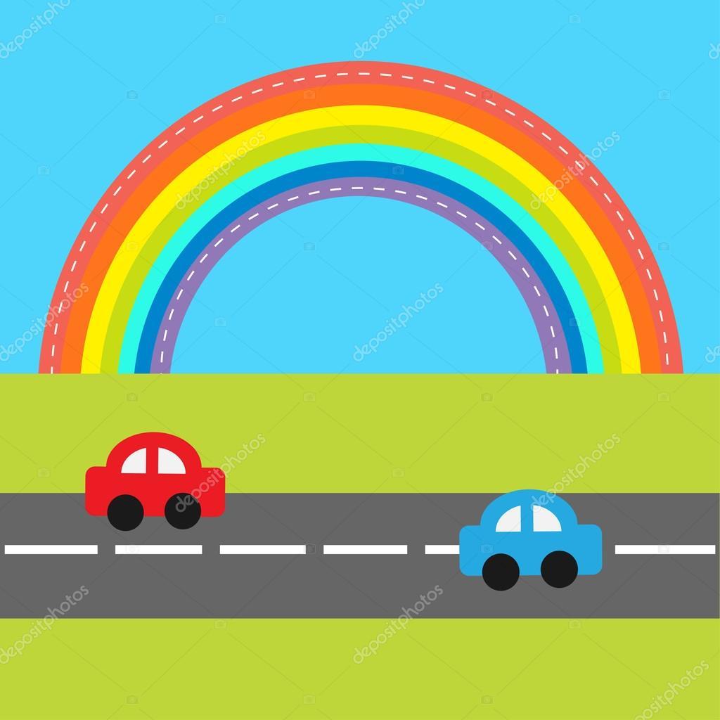 1024x1024 Cartoon Cars Over Rainbow Stock Vector Worldofvector