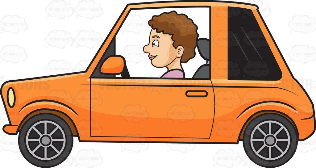 1024x544 A Woman Driving A Small Car Cartoon Clipart
