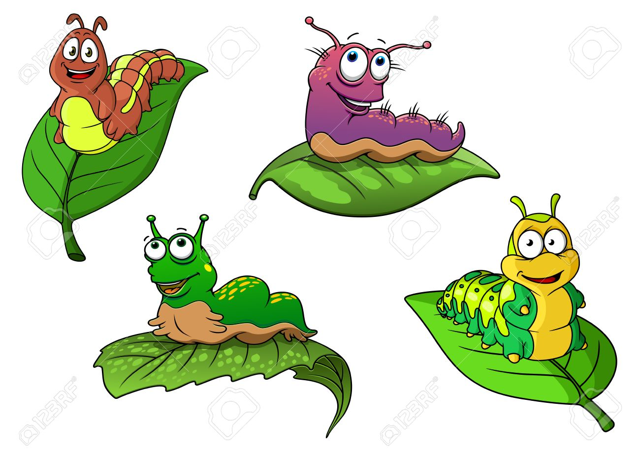 1300x919 Cute Cheerful Cartoon Caterpillars Characters On Fresh Green