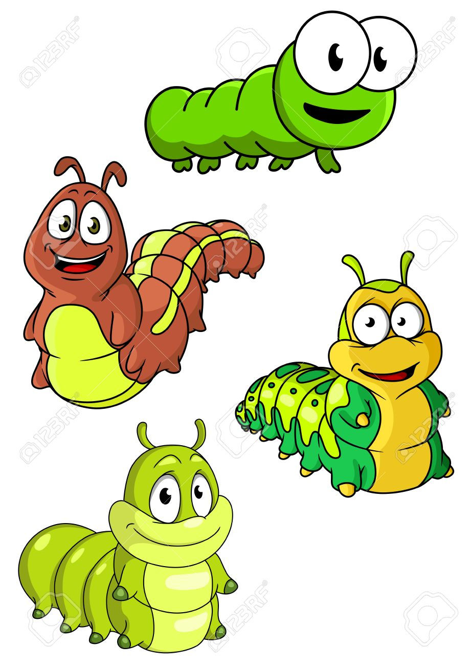 919x1300 Cute Colorful Cartoon Caterpillars Characters With Happy Smiling