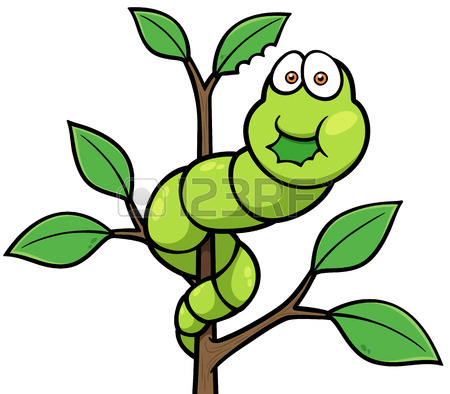 450x394 Illustration Of A Funny Cartoon Green Caterpillar Worm Character