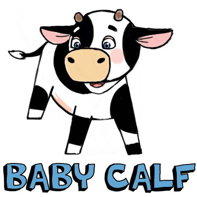 400x400 How To Draw Cute Cartoon Baby Cows With Step By Step Drawing