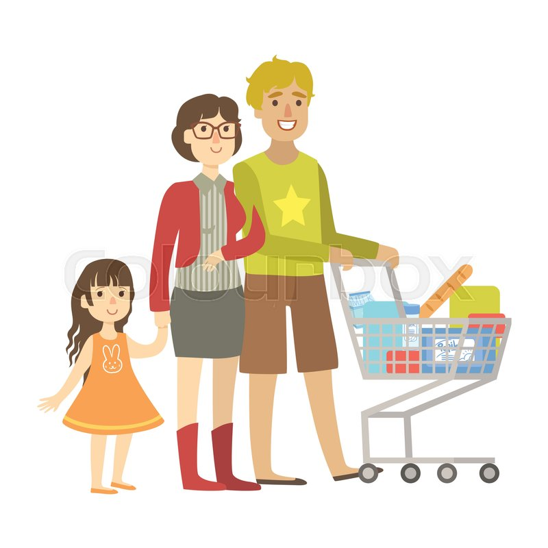 800x800 Parents And Little Daughter Shopping For Groceries In Supermarket