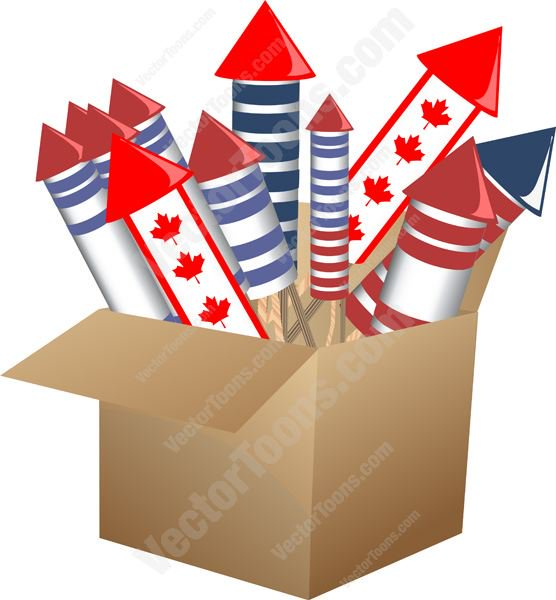 556x600 Cardboard Box Filled With Fireworks Including Canadian Maple Leaf