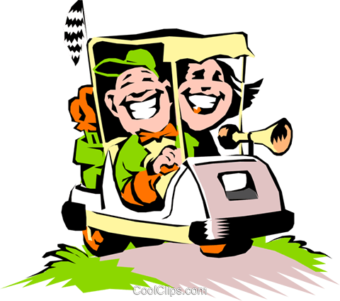 480x424 Golf Vector Clipart Of A Couple In A Cartoon Golf Cart Coolclips