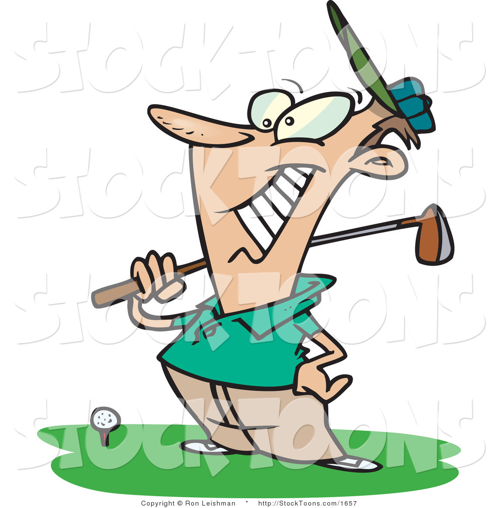 1024x1044 Stock Cartoon Of A Happy Male Golfer By Toonaday