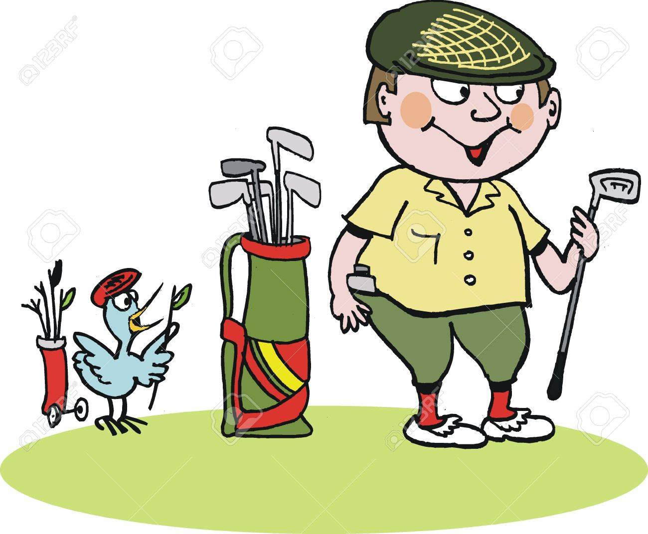 1300x1072 Cartoon Of Scottish Golfer In Plus Fours Royalty Free Cliparts