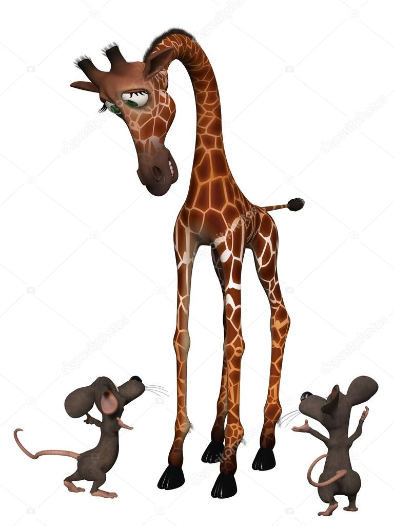 768x1024 Giraffe with two cartoon mice. Tall small concept — Stock Photo