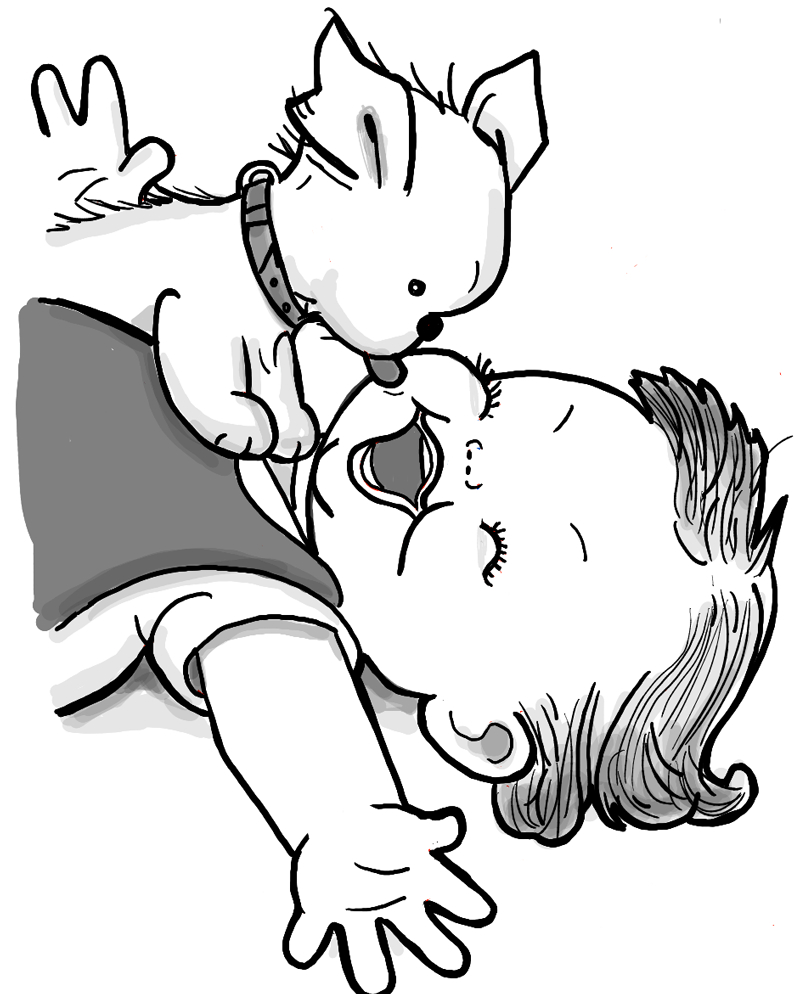 800x994 Puppy Cartoon Drawing How To Draw A Cute Baby And Puppy Licking