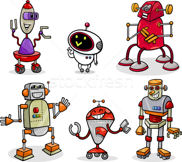 600x535 Robots Or Droids Cartoon Illustration Set Vector Illustration