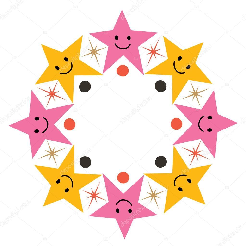 1024x1024 Cute Cartoon Stars Frame Stock Vector Aliasching