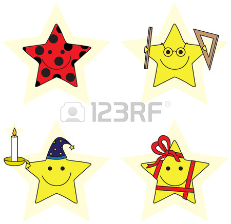 450x437 Set Of Four Illustrated Cartoon Stars Royalty Free Cliparts