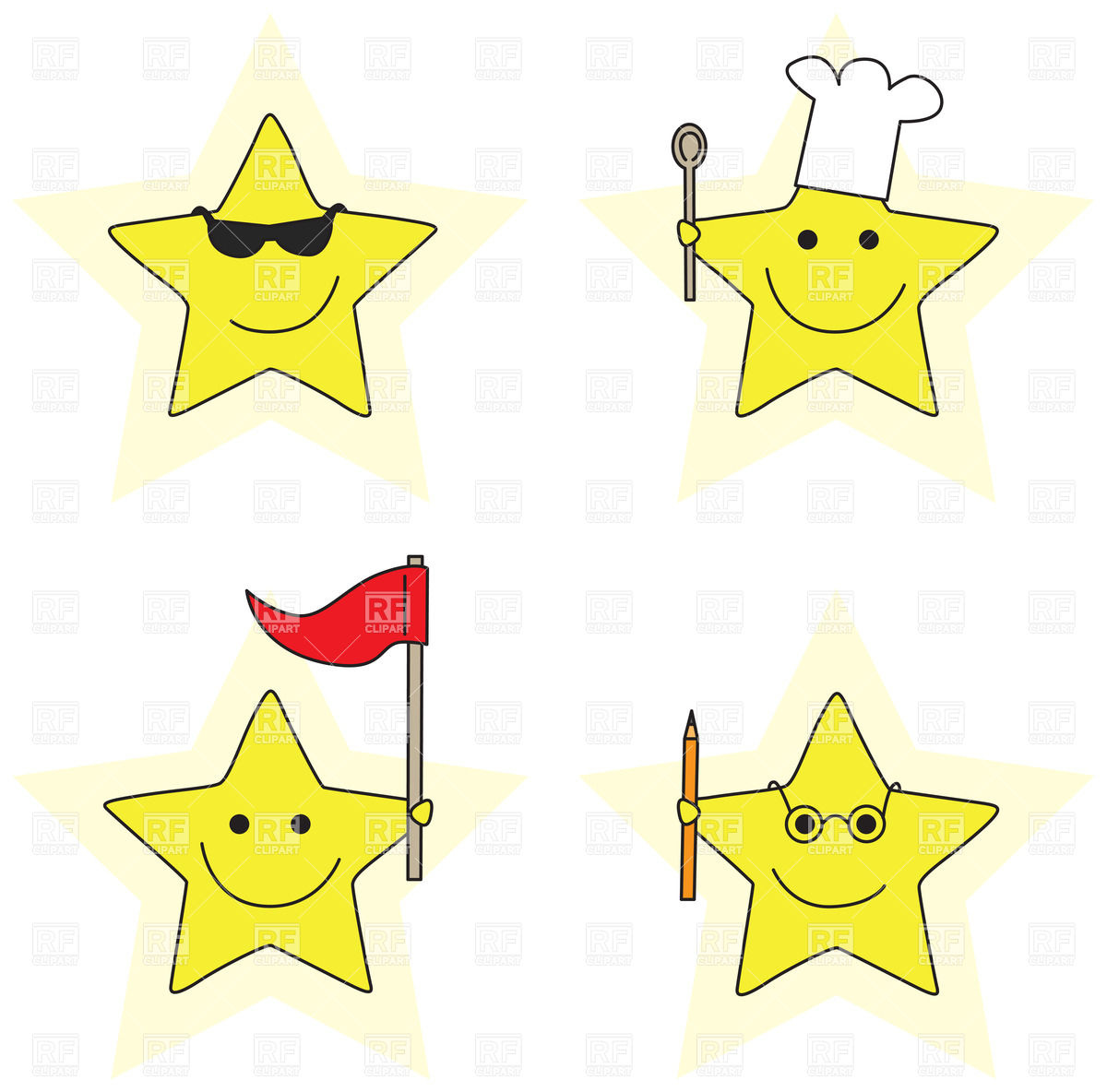 1200x1184 Smiling Cartoon Little Stars In Different Roles Royalty Free