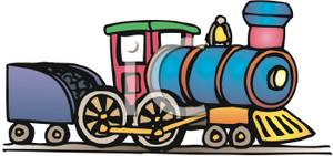300x141 Colorful Cartoon Of A Train Engine Pulling A Coal Car