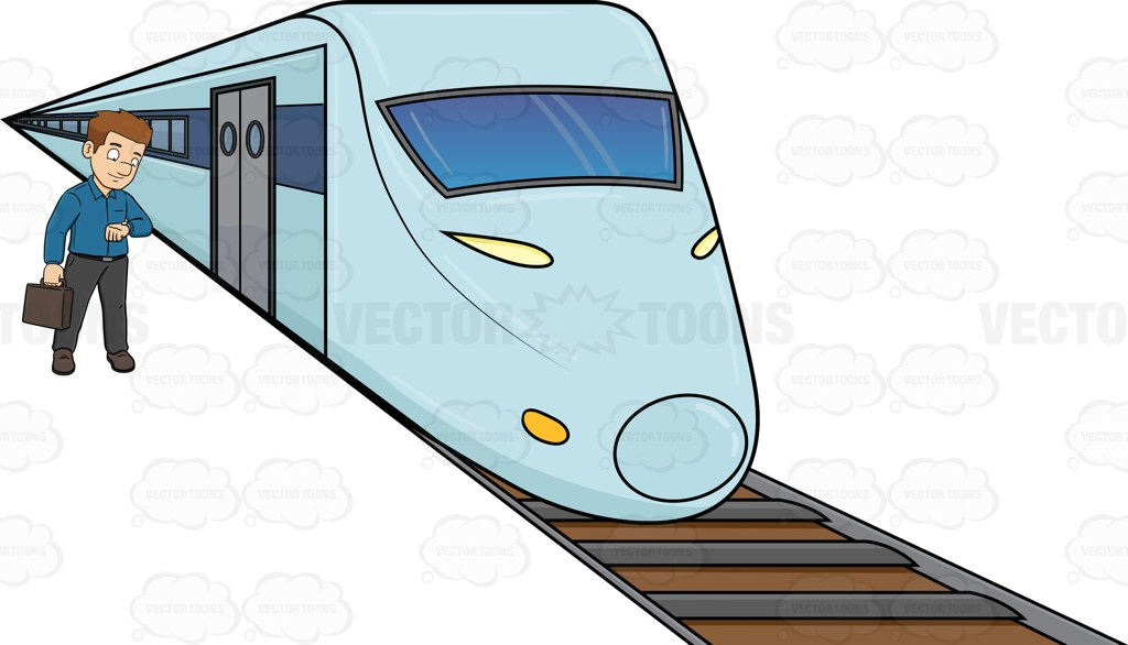 1024x586 A Man Waiting For The Bullet Train Train Cartoon