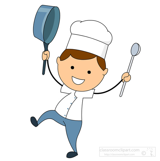 548x550 Cartoons Clipart Cartoon Style Chef With Frying Pan And Spoon