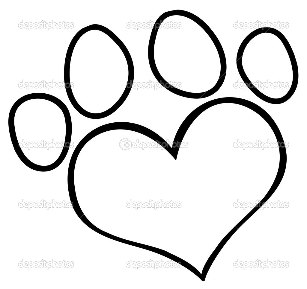 1024x966 Paw Print With Hearts Clipart