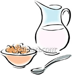 288x300 Pitcher Of Milk And Bowl Of Cereal Royalty Free Clipart Picture