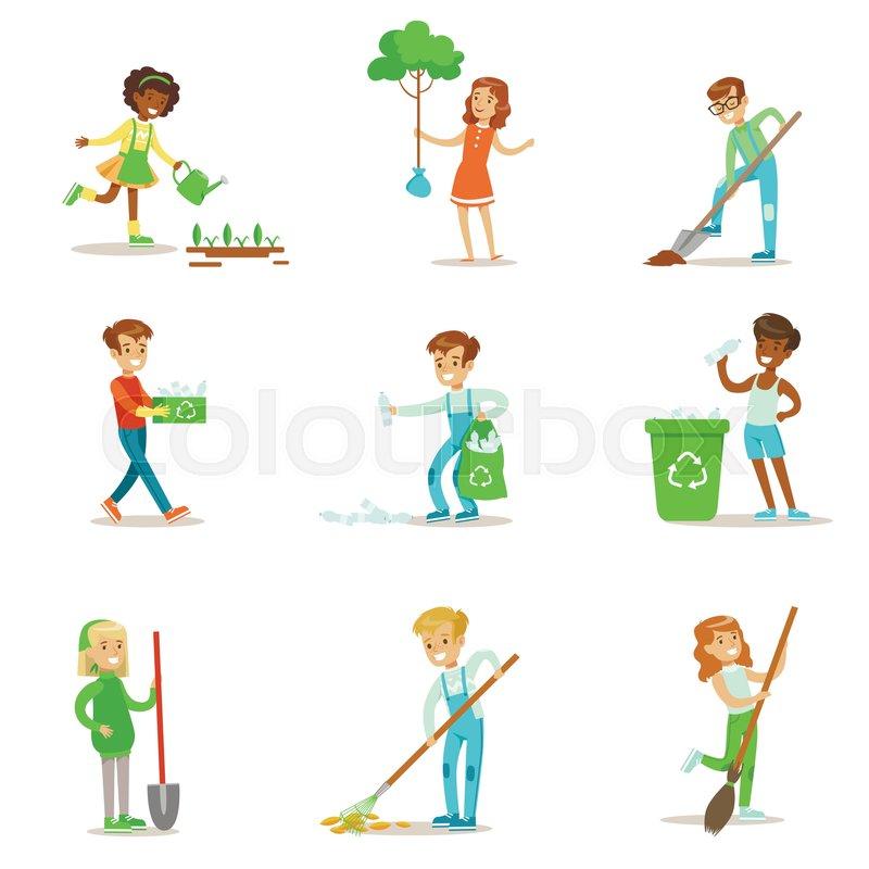 800x800 Children Helping In Eco Friendly Gardening, Planting Trees