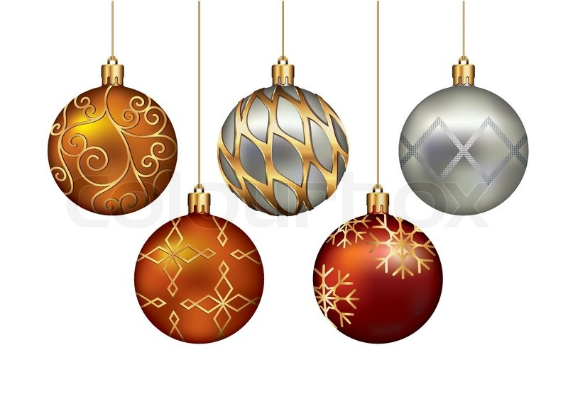 800x566 Christmas ornaments hanging on gold thread. Vector Illustration