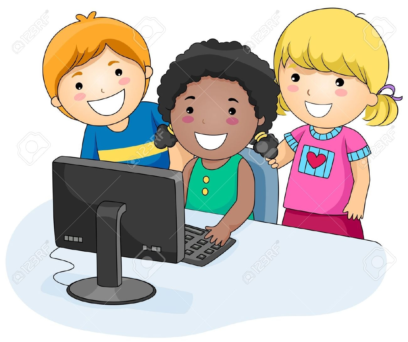 1300x1090 Children Using Computer Clipart