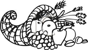 300x171 Coloring Page Of A Thanksgiving Cornucopia Clipart Image