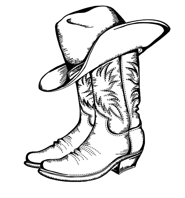 600x642 Cowboy Hat, Cowboy Boots And Hat Coloring Pages Coloring