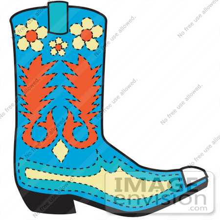 450x450 Royalty Free Cartoon Clip Art Of A Blue Cowboy Boot With Orange