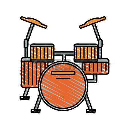 450x450 Colorful Drums Doodle Over White Background Vector Illustration