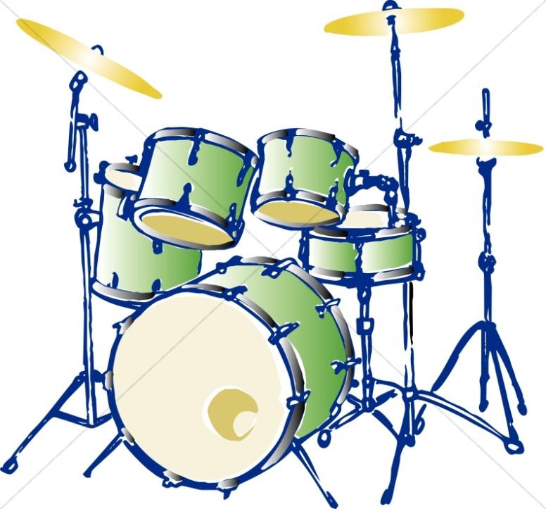 776x723 Green Complete Drum Set Church Music Clipart